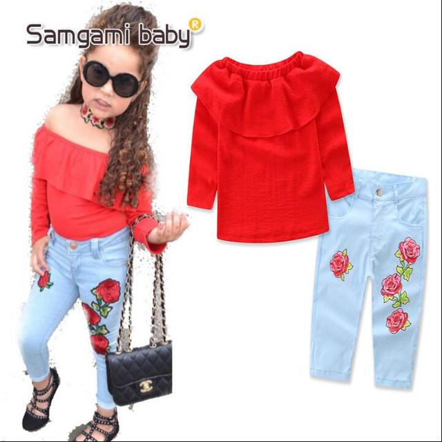 345a175988e93 2019 Enfant Fille Vêtements D été Ensemble Rouge mot épaule + Jeans  vêtements pour enfants