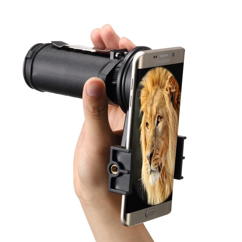 imágenes para 30x25 telescopio monocular lente de la cámara + clip holder + cubierta de la lente senderismo concierto bird watching hd universal para samsung smartphone