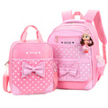 Cute 2pcs Bag Girls Backpacks Princess Butterfly Lovely Korean Combined Bag Handbag High Quality Nylon Children School Bags Kids