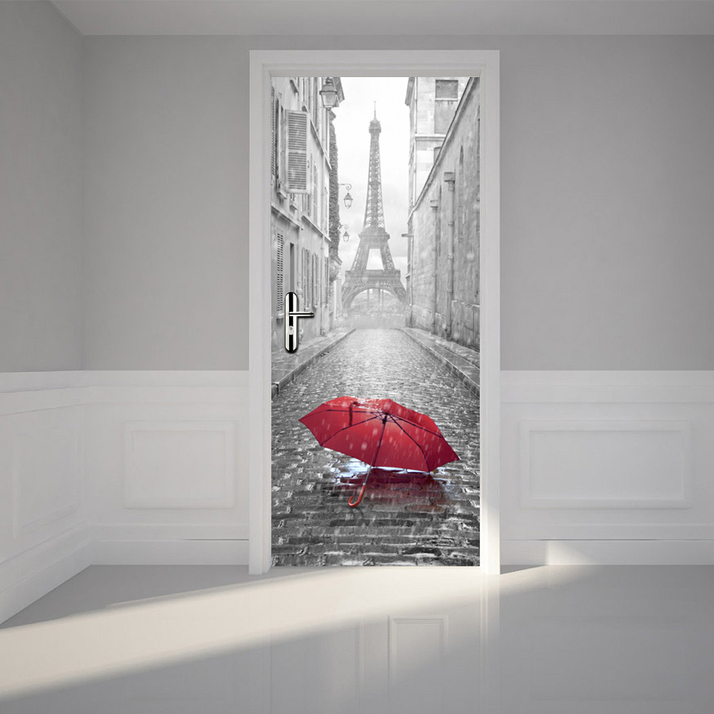 3d poster design online - 2 Pcs Set Wall Stickers Diy Mural Bedroom Home Decor Poster Pvc Paris Eiffel Tower Waterproof Imitation 3d Door Sticker Decal 8f