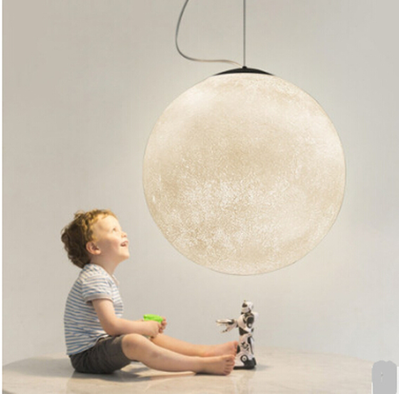 3D Print Hanglampen Nordic Creatieve Maan Lamp Bal hanglamp Restaurant Hars Lampen Nieuwigheid Sfeer Nachtlampje Lamp