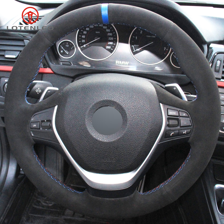 Black Leather Black Suede Car Steering Wheel Cover For BMW F30 316i 320i 328i
