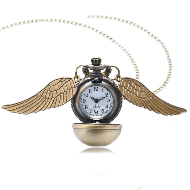Theme Golden Ball with Wings Design Quartz Pocket Watch With Swaeter Necklace Ch