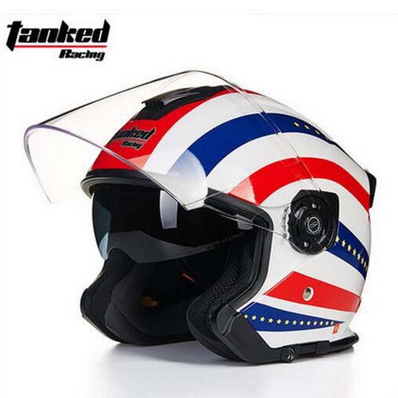 2017 Summer New Tanked Racing Double lens motorcycle helmet T957 ABS Half Face motorbike helmets for Knight protection equipment 2017 summer new half face beon child motorbike helmet abs b 103etk children motorcycle helmets for boys girls for four seasons