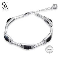 SA SILVERAGE 925 Sterling Silver Rectangle Stone Chain Bracelets Bangles Fine Jewelry 925 Silver Chain Link