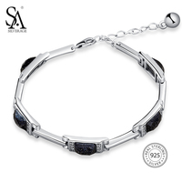 SA SILVERAGE 925 Sterling Silver Rectangle Stone Chain Bracelets Bangles Fine Jewelry 925 Silver Chain Link
