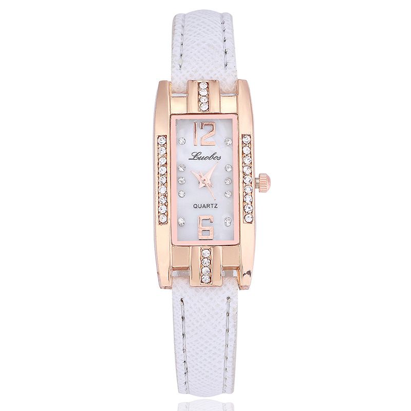 2018 New Shell Surface Rectangle Watch Woman Ladies Fashion PU Leather Casual Crystal Dress Quartz Wristwatch Relogio Feminino