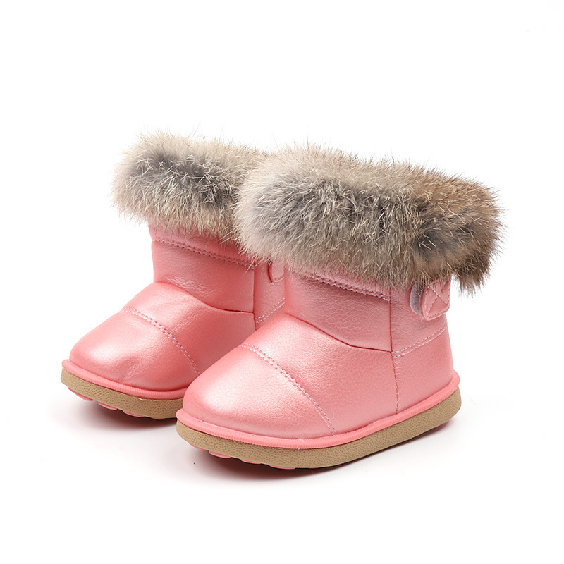 JGVIKOTO Winter Rubber Boots For Girls Boys Kids PU Leather Water-proof Children Fashion Snow Boots Warm Cotton Plush Fur Hair ...
