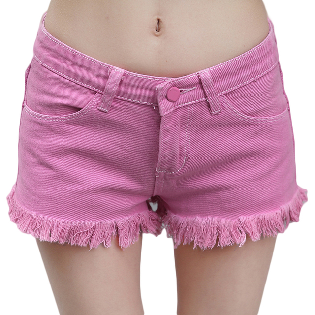 Aliexpress.com : Buy Low waist ripped hem denim shorts for women ...