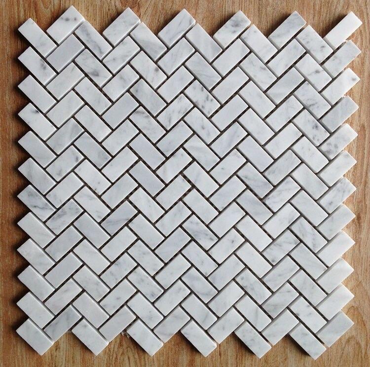 Fish bone shaped Carrara White Marble mosaic tiles backsplash ...
