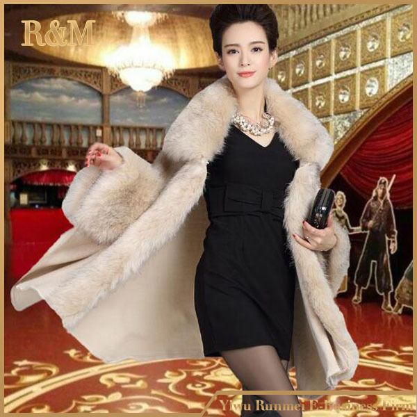 Women Fox Fur cape Coat Cashmere Cardigan Hooded cape Fur Collar Coat Fashion Women's Luxury Fur Coat