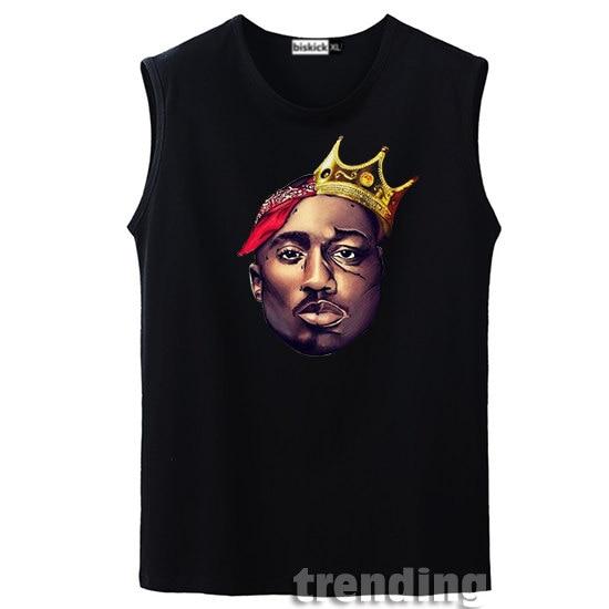 daf7ad3c Fashion cotton Man boy biggie 2PAC Eazy Tupac rap music Summer Street hip  hop concert sleeveless T-Shirts Top tee vest tank top