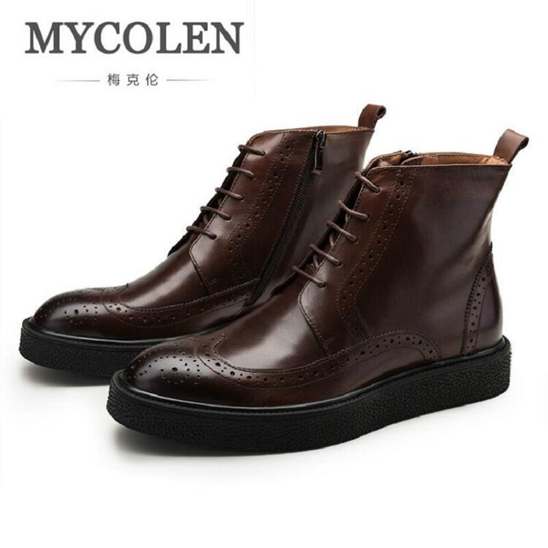 MYCOLEN Winter Men's Leather Ankle Boots Genuine Leather Martin Boots British Casual Lace Up Male Shoes Black Sapato Masculino fashion british style men s genuine matte leather boot shoes casual lace up male martin ankle chunky booties homme s4472