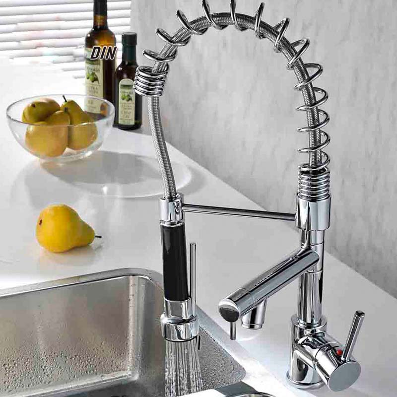 Modern New Deck Mounted Spring Polished Chrome Brass Kitchen Faucet Single Handle Sink Mixer Tap luxury 8008 new waterfall led light faucet battery powered chrome brass material single handle deck mounted tap kitchen faucet