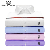 Sergiok Camisa Men Shirt Male Dress Twill Shirts Men S Casual Long Sleeve Business Formal Shirt