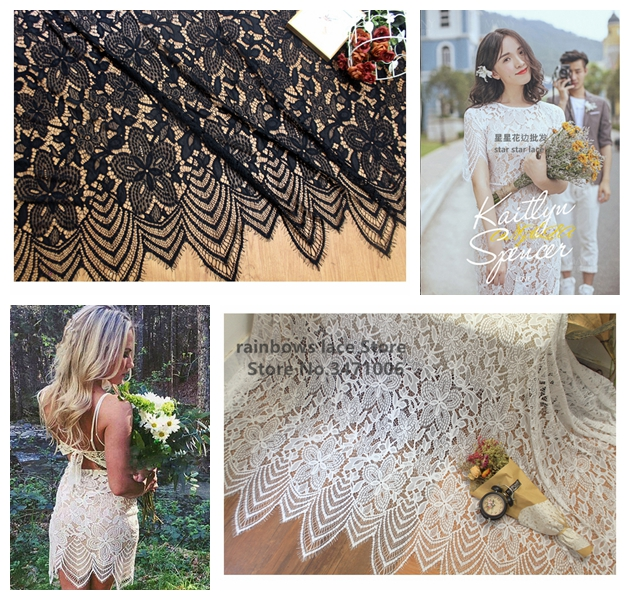 Lot Fashion Black And White Eyelash Lace Diy Ornament Home Tablecloth Wedding Beach Swimsuit Skirt Thick Textiles Apparel Sewing & Fabric Arts,crafts & Sewing 3 Meters