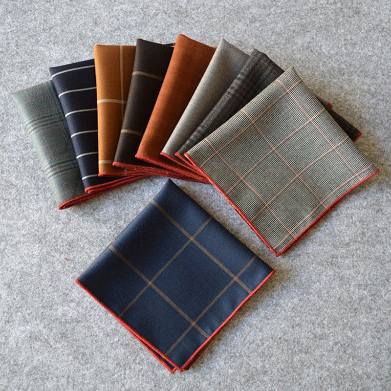 Factory Men's Vintage Plaid Striped Solid Cotton Handkerchief Pocket Square Hankies Luxury Chest Towel Prom Wedding Party Gift