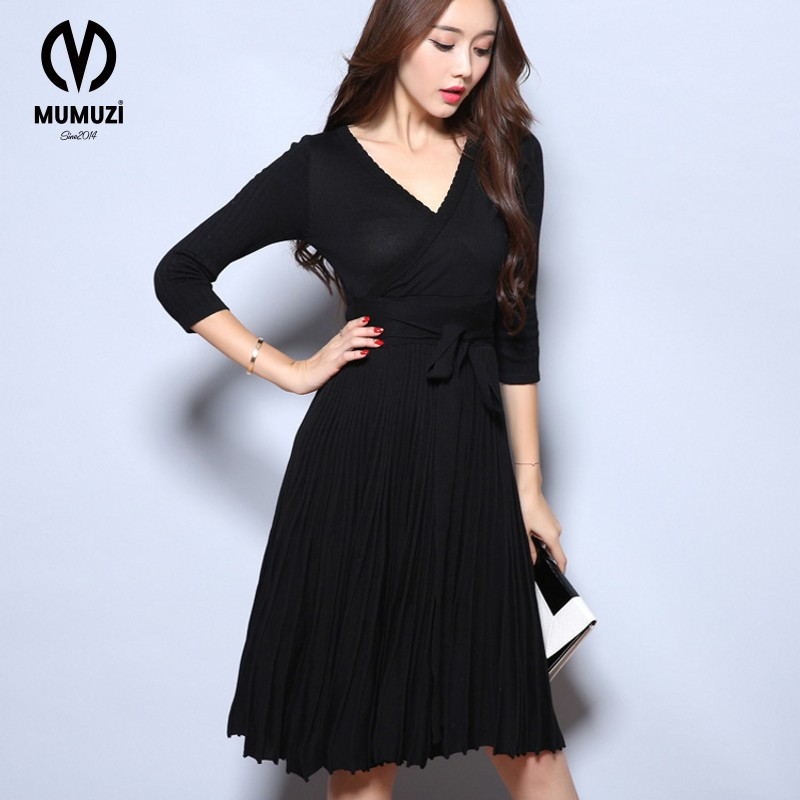 2017 Woman Heather Grey Wrap Dress With Pockets Autumn Ladies Deep V Neck  Long Sleeve Vintage Belted A Line Dress-in Dresses from Women s Clothing on  ... b348e1972