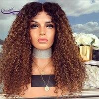 Glueless натуральные волосы синтетические волосы на кружеве Искусственные парики полный плотность 180 странный вьющиеся афро бразильский волос