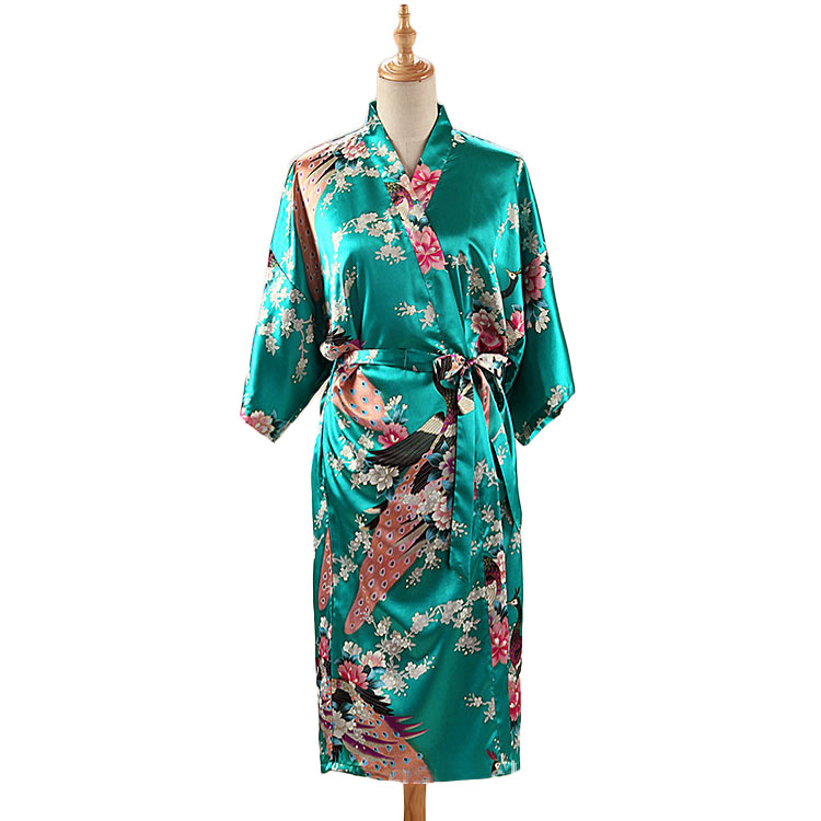 HTB1fAkfXvfsK1RjSszbq6AqBXXaP Woman Loose Style Pajamas Home Sleep Wear Lace Up Peacock Print V-neck Night Gown Japanese Kimono Yukata Bathing Robe