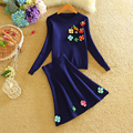 Apliques de Manga Larga de punto Suéter de La Flor Juegos de Falda de Las Mujeres de Ganchillo Suéter Superior Cultivo Una Línea de Falda de Dos Piezas de Chándal