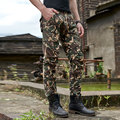 2017 Spring and Autumn models camouflage multi-bag trousers military green overalls men's cotton straight loose pants size