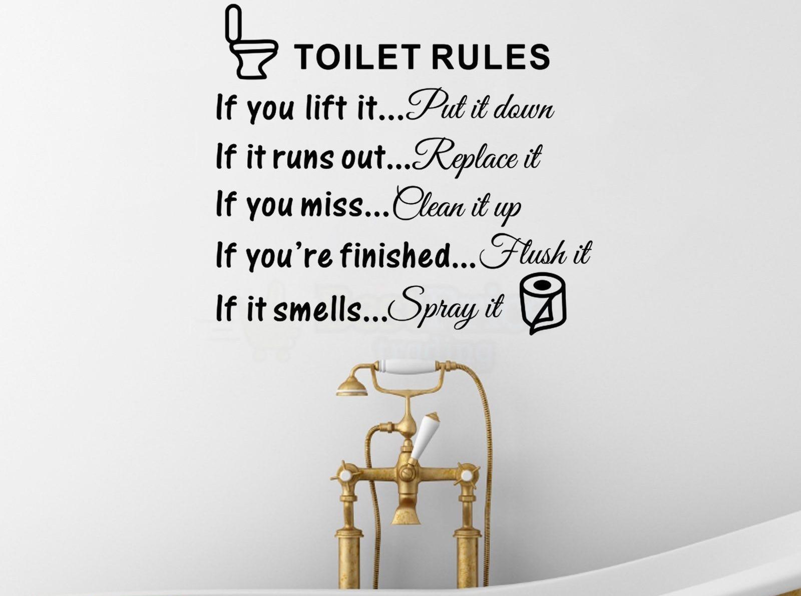 Buy d491 toilet rules quotes vinyl wall decal sticker for home decor bathroom - Teresa von avila zitate ...