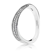 цена 2018 New Authentic 925 Sterling Silver Elegant Waves Ring Clear CZ For Women Wedding Rings Fine Pans Jewelry Birthday Gift онлайн в 2017 году
