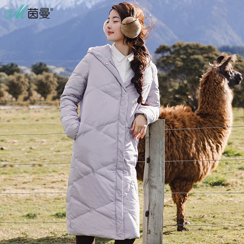 INMAN Winter New Hooded Solid Color Long Warm Down Coat Women