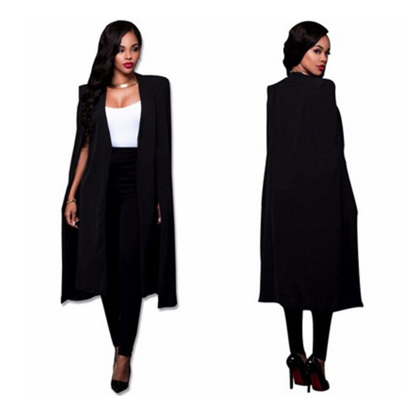 S-2XL Long Blazer Women Jacket Cloak Suits Plus Size Wind Coat Poncho Trench Shawl Wrap Manteau Cape Outerwear Windbreaker Slit