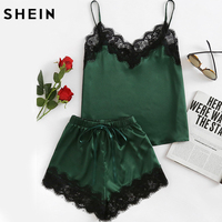 SHEIN Pajama Sets Women Sleepwear Army Green Spaghetti Strap V Neck Lace Trim Satin Cami And