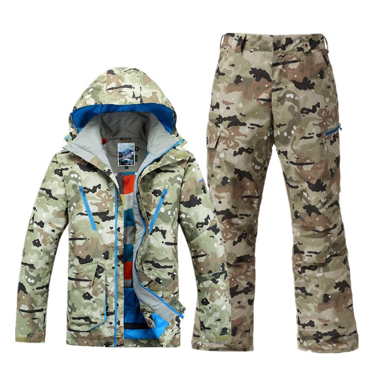 Gsou snow 2015 mens ski suit new arrival high quality skiing suit male snow set Camouflage ski jacket and pants waterproof 10K brand gsou snow technology fabrics women ski suit snowboarding ski jacket women skiing jacket suit jaquetas feminina girls ski