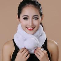 63cm scarf female long ball three row tube rabbit hair scarves fur warm 2017winter fashion rabbit hair scarf fur scarf wholesale