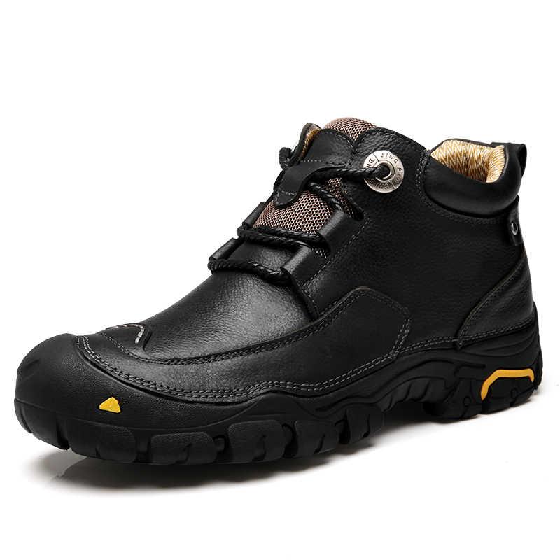 CLAX männer Stiefeletten 2019 Herbst Winter Arbeit Boot Echtes Leder Männlichen Casual Schuhe Im Freien Zu Fuß Schuhe Große Größe