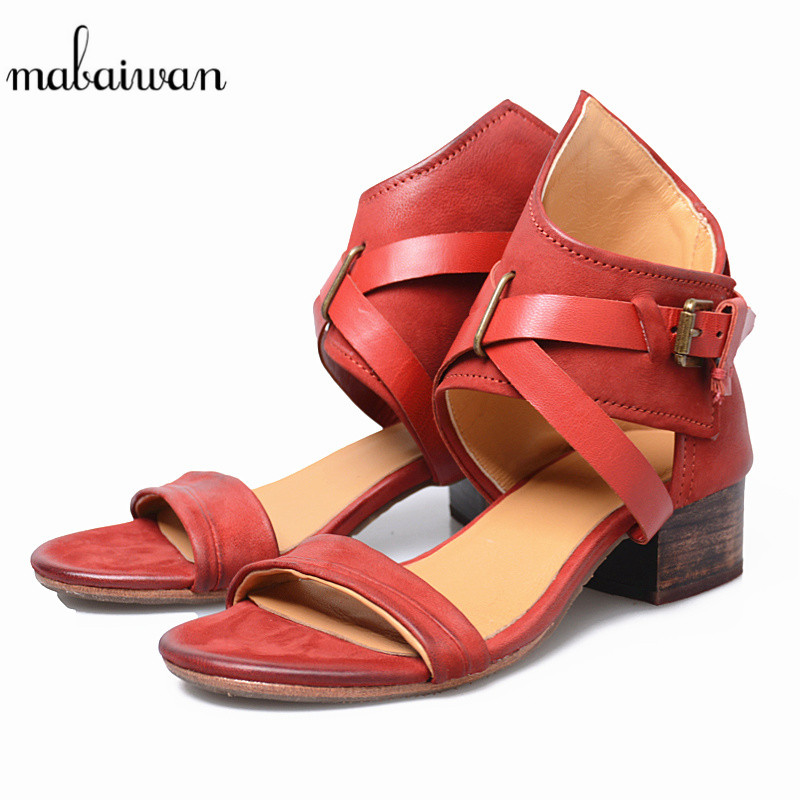 Mabaiwan Red Women Shoes Genuine Leather Square High Heel Summer Sandals Shoes Woman Cross Buckle Gladiator Slippers Ankle Boots 2017 summer genuine leather botas mujer thigh high gladiator summer boots black color square heel big buckle strap shoes woman