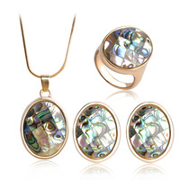 Upscale Abalone Shell 18K Gold Jewelry Sets Necklace Earring Ring Blucome New Design Wedding Jewelry Sets