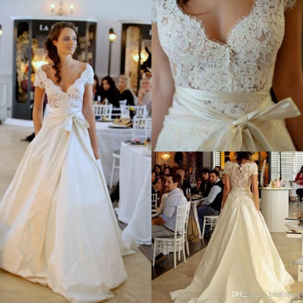 <font><b>2014</b></font> <font><b>Sexy</b></font> Short Sleeves V Neck Lace Top Taffeta Vestidos De Novia Ivory Wedding Dresses Bridal Gown With Ribbons Free Shipping image