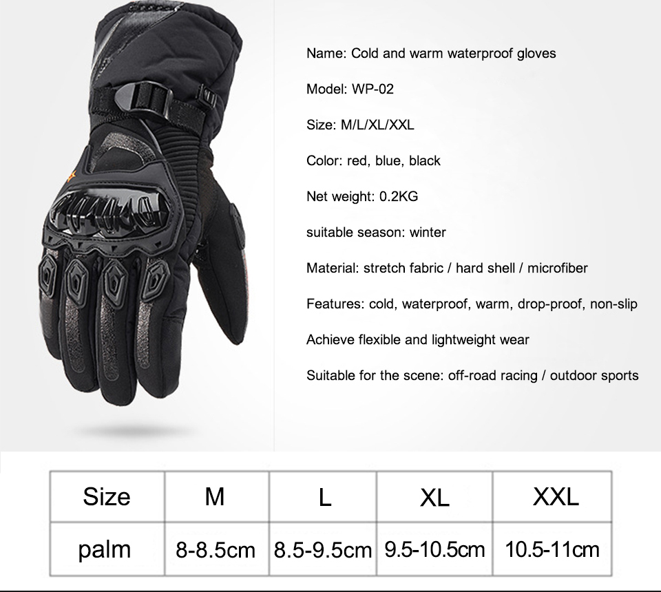 Foxcncar motorcycle gloves 100% Waterproof windproof Winter warm Guantes Moto Luvas Touch Screen Motosiklet Eldiveni Protective (12)