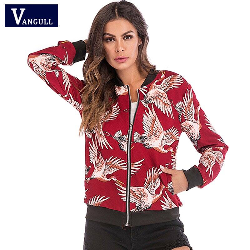 Spring & Autumn popular new Style Women's Clothing Flying crane printing baseball Female Tops Long sleeve zipper   Basic     Jackets