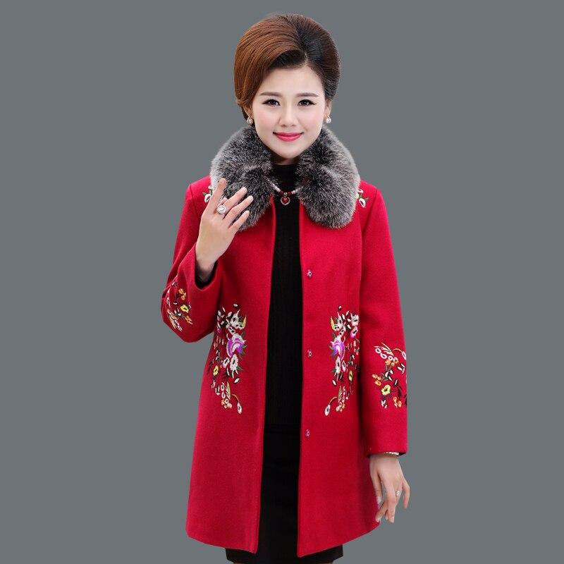 eae669b8584 XL 4XL winter plus size wool Coat women 2018 New Long Fur collar embroidery  Flowers Red Wool Coat Fashion Elegant Jacket LF655-in Wool   Blends from  Women s ...