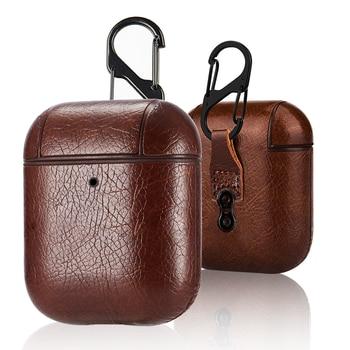 کیف محافظ کیف محافظ آستین چرمی کیف قابل حمل برای جعبه شارژ اپل AirPods قاب ضد گمشده با قلاب
