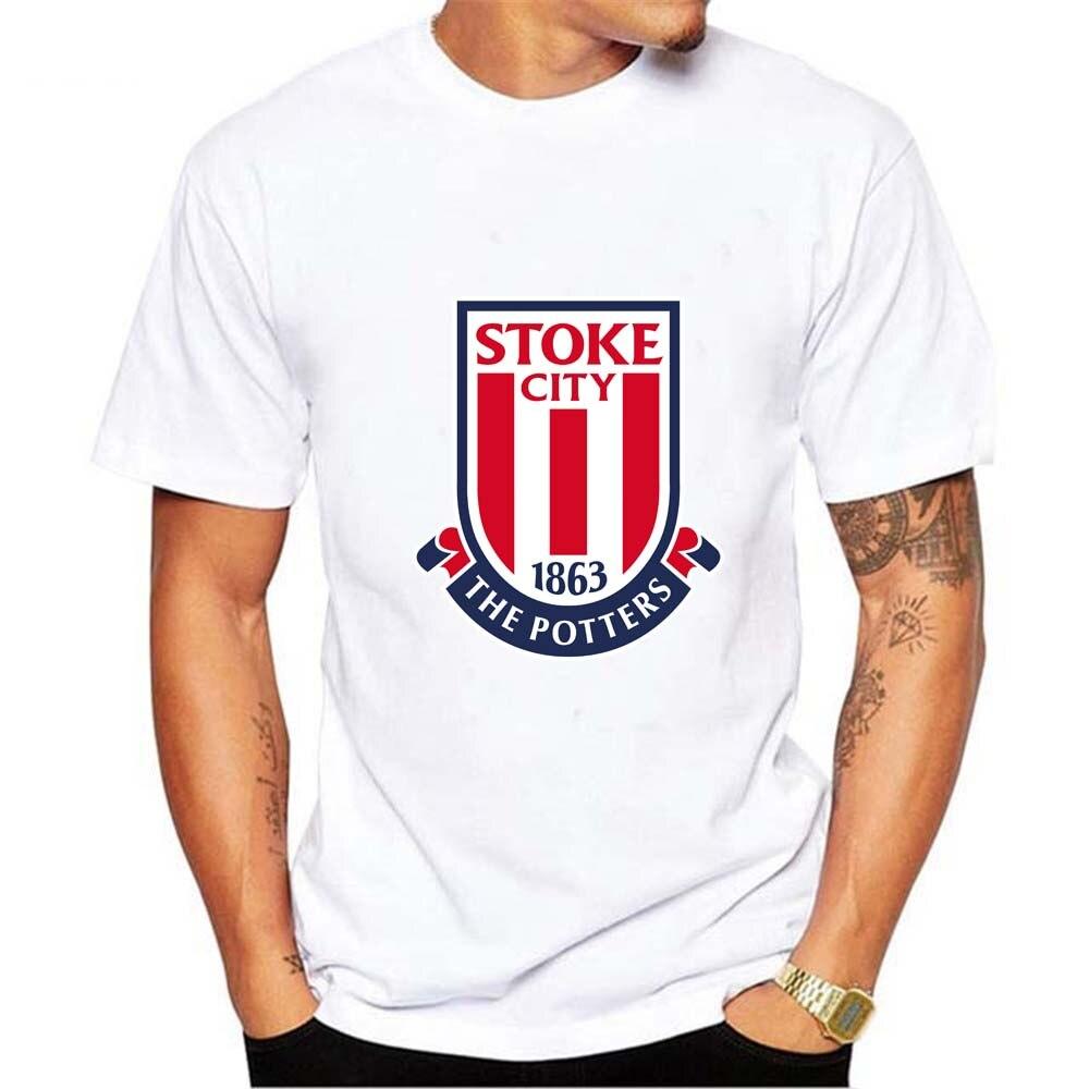LEHATOU 2018 Stoke City White Men T-Shirts O-Neck Man Shirts Fashion Print Stoke City Fans Tops Good Quality Summer Modal Tees