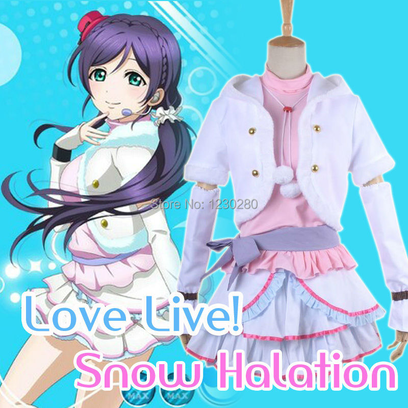 Love Live Cosplay Snow Halation Winter White Lovely Dress Tojo Nozomi Cosplay Costume For Adult Women Girls Plus Size
