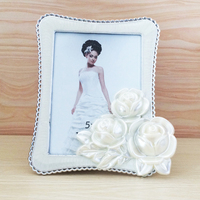 2016 New Hot Lovely Photo Frames White Rectangle Bedroom Decor Rose Flower Birthday Creative Gift Picture