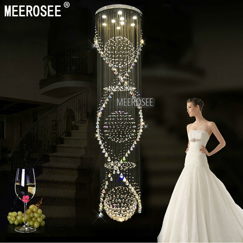Long Spiral Crystal Chandelier Light Fixture  for Lobby, staircase Round Lustre, stairs, foyer Large Crystal Stair Lighting guess w0658g8
