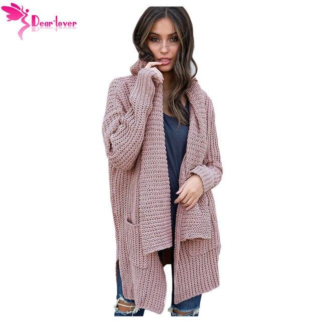 f7b25a80b Dear Lover Autumn Winter Women Knitted Sweater Pink Comfy Cozy Pocketed  Long Cardigan Irregular Outwear Coats Oversizes LC27774