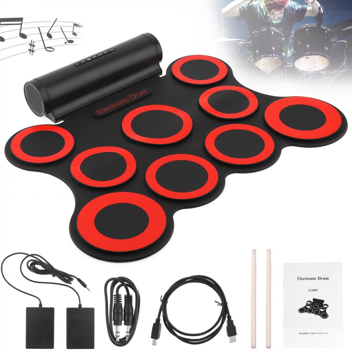 9 Pads Electronic Roll up Silicone MIDI Drum Double Speakers Stereo Electric Drum Pad Kit with Drumsticks and Sustain Pedal