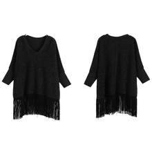 2017 Women Tassel Batwing Sleeve Black Dress Sequin Thicken Large Plus Size Loose Big Mini Glitter Dress Clothing