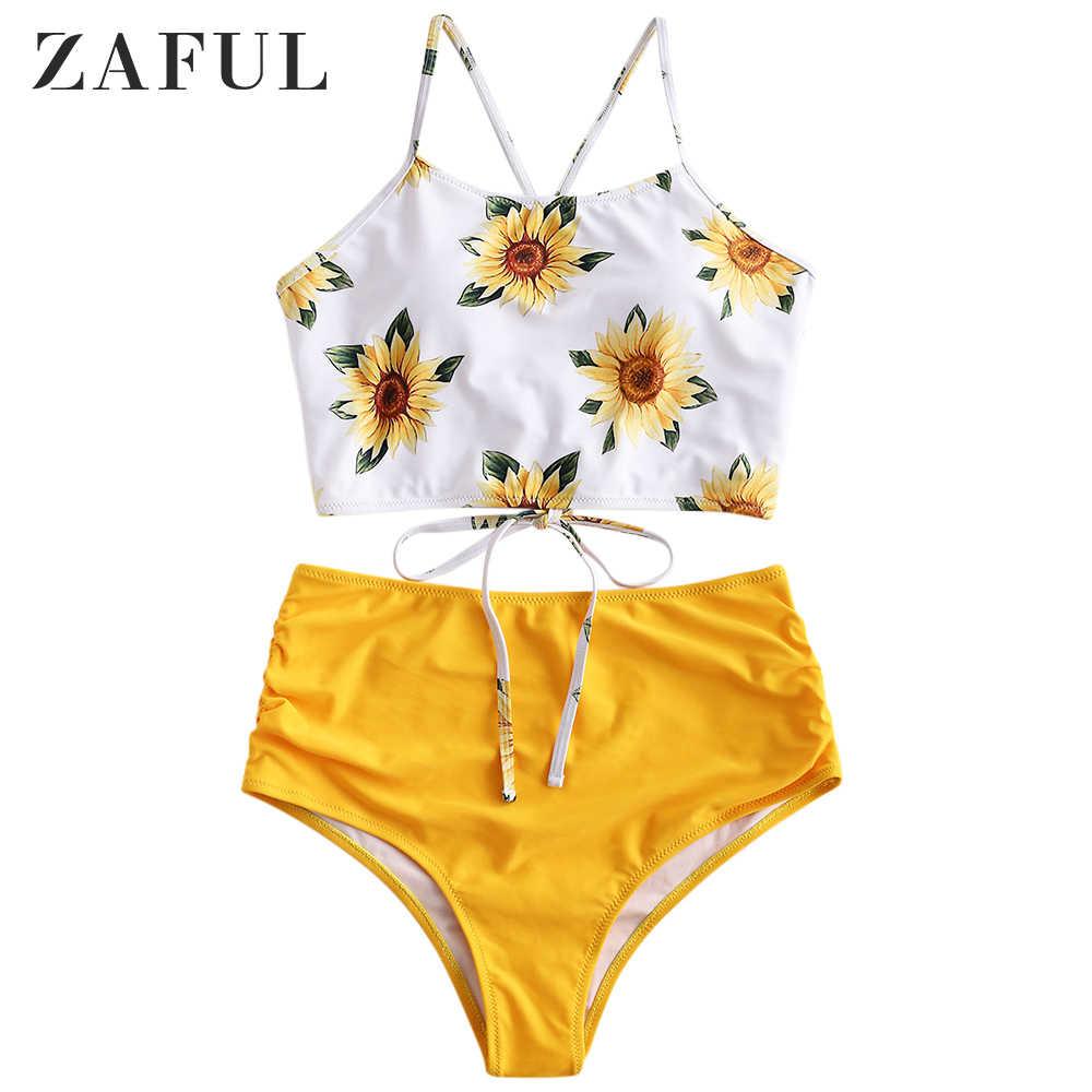 ZAFUL Womens Spaghetti Straps Sunflower Lace-up High Waisted Tankini Set