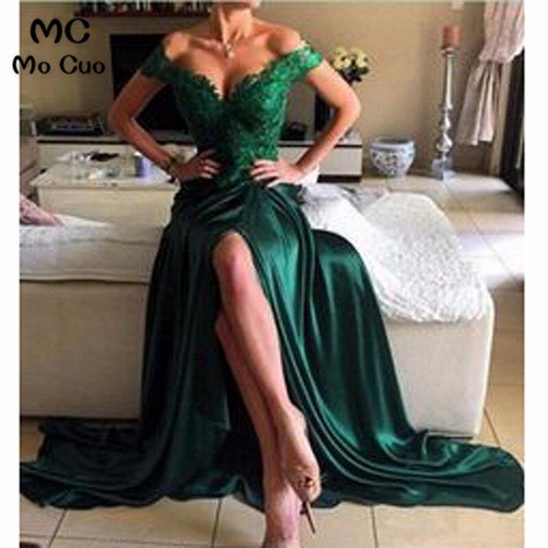 2018 Bateau Off Shoulder   Bridesmaid     Dress   Front Split Weddding Party   Dresses   vestido de festa V-Neck   Bridesmaid     Dresses